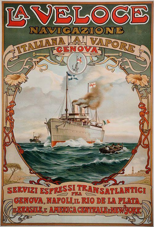 Italian emigration poster advertising Transatlantic passage